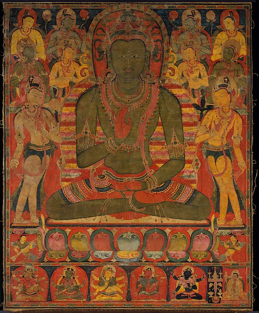 Amoghasiddhi, the Buddha of the Northern Pure Land, Distemper on cloth, Central Tibet