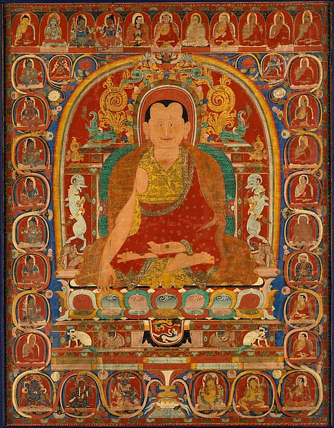 Lineage Portrait of an Abbot, Distemper on cloth, Central Tibet