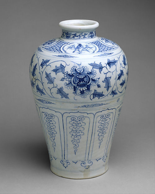 Bottle with Birds and Peony Scroll, Stoneware painted with cobalt blue under transparent glaze, Vietnam