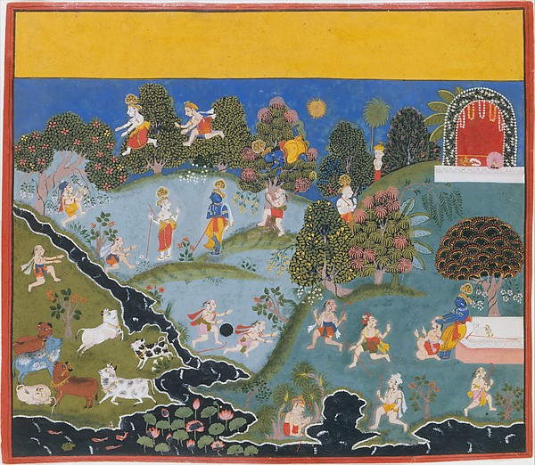 Blindman's Bluff: Page From a Dispersed Bhagavata Purana (Ancient Stories of Lord Vishnu), Ink, opaque watercolor, and gold on paper, India (Rajasthan, Mewar)