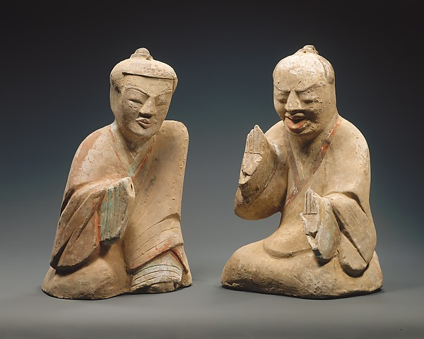 Pair of Seated Figures Playing Liubo, Earthenware with pigment, China