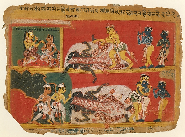 Bhima Slays Jarasandha: Page from a Bhagavata Purana Manuscript, Opaque watercolor and ink on paper, Northern India, Delhi or Agra region