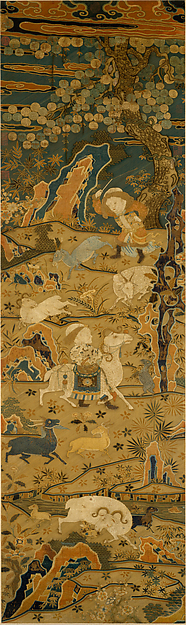 Welcoming Spring, Unidentified Artist Chinese, 14th–15th century, Silk embroidery on silk gauze, China