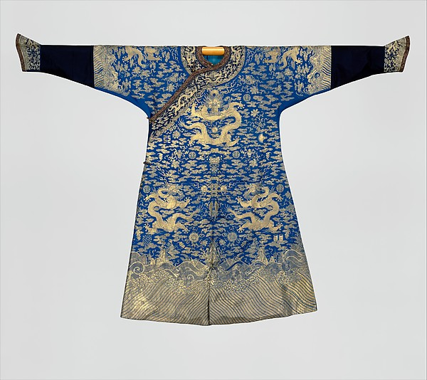 Emperor's twelve-symbol festival robe, Silk and gold and silver thread embroidery on silk twill, China