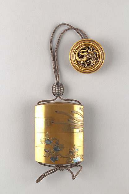 Case (Inrō) with Pheonix and Paulownia Tree, Gold lacquer with gold and colored makie and mother-of-pearl, Japan