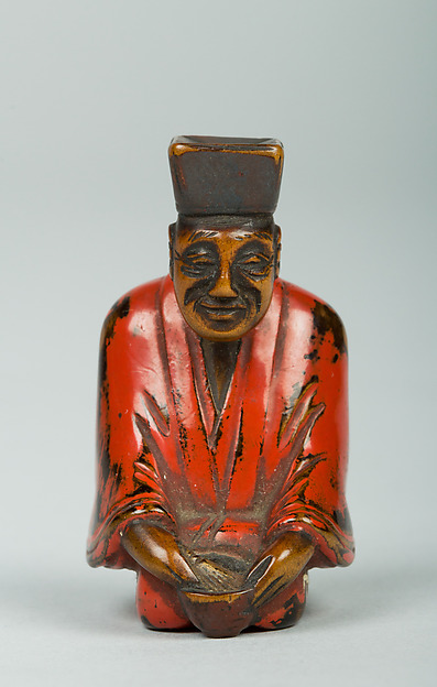 Netsuke of Tea Master, Wood and red lacquer, Japan