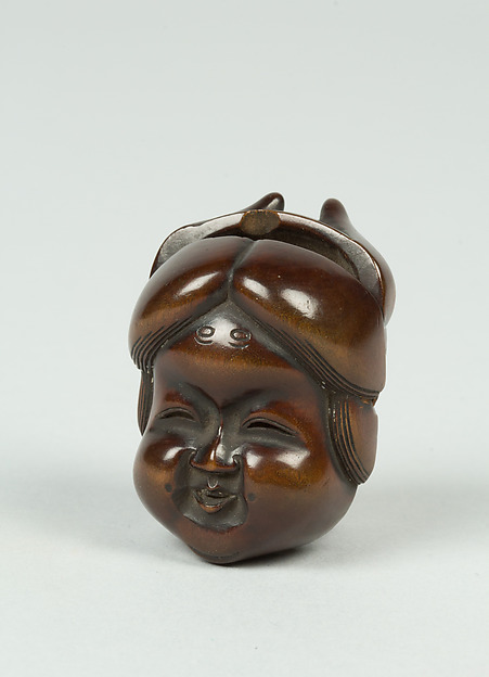 Netsuke of Mask; Fat-Faced Girl and Demon, Ivory, Japan