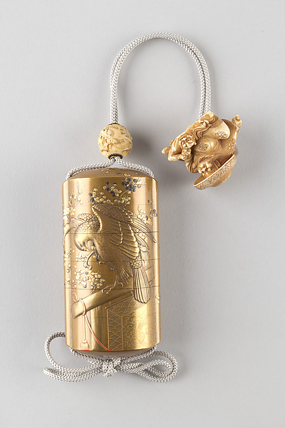 Case (Inrō) with Design of Falcon on Perches and Blossoming Plum Tree, Gold lacquer with silver, black and red makie and gold and silver inlay Lacquer, fundame, gold, silver, black and red hiramakie, gold foil; Interior: nashiji and fundame, Japan