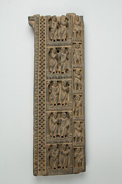 False Gable Border Relief: Worshippers in Princely Costumes, Stone, Pakistan (ancient region of Gandhara,Taxila)