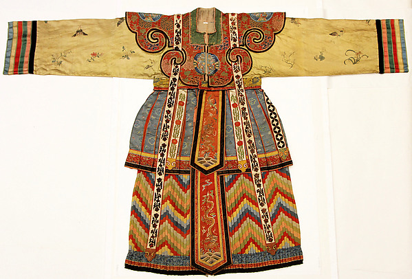 Theater Robe for Actor, Patterned silks, satin embroidered in silks, gold-wrapped silks applique on satin, China