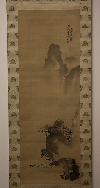 River Gorge with Waterfall, Attributed to Tani Bunchō (Japanese, 1763–1840), Hanging scroll; ink on silk, Japan