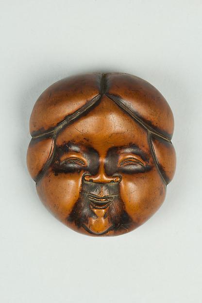 Netsuke of Noh Mask; Face of Usume, Wood, Japan