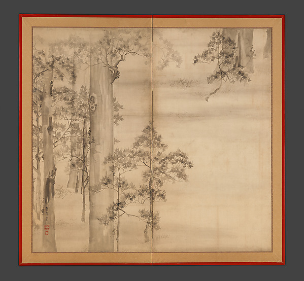 Cypresses, Ikeda Koson (Japanese, 1803–1868), Two-panel folding screen; ink on paper, Japan