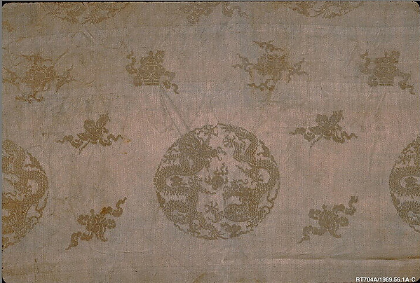 Breadth of WovenTextile, Satin damask and satin brocaded in silk and gold-wrapped silk, China