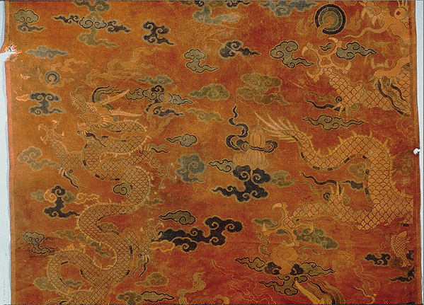Breadth of Woven Textile, Satin damask and satin brocaded in silk and gold-wrapped silk, China