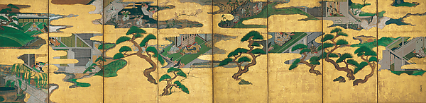 Nine Scenes from The Tale of Genji, Studio of Tawaraya Sōtatsu (Japanese, died ca. 1640), Eight-panel folding screen; ink and color on gilt paper, Japan