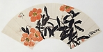 Bees and Camellias, Qi Baishi (Chinese, 1864–1957), Folding fan mounted as an album leaf; ink and color on alum paper, China