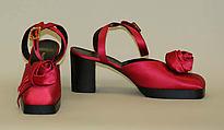 Evening sandals, Walter Steiger (French, born Geneva, 1942), silk, leather, Italian