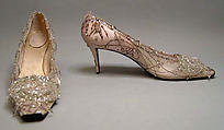 Evening shoes, House of Dior (French, founded 1947), silk, nylon, leather, glass, metallic thread, French