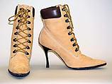 Boots, Manolo Blahnik (British, born Spain, 1942), a,b) leather, wood, cotton, British