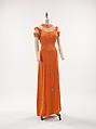 Evening dress, Elsa Schiaparelli (Italian, 1890–1973), silk, synthetic, rhinestones, metal, French