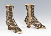 Evening boots, silk, metal, probably French