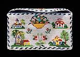 Card case, glass, linen, silk, Mexican