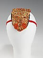 Headdress, cotton, metal, coral, probably Albanian