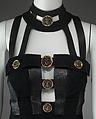 Dress, Gianni Versace (Italian, 1946–1997), wool/silk blend, leather, metal, Italian