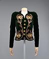 Evening ensemble, Elsa Schiaparelli (Italian, 1890–1973), Silk, rayon, metallic thread, tinsel, glass, plastic, French