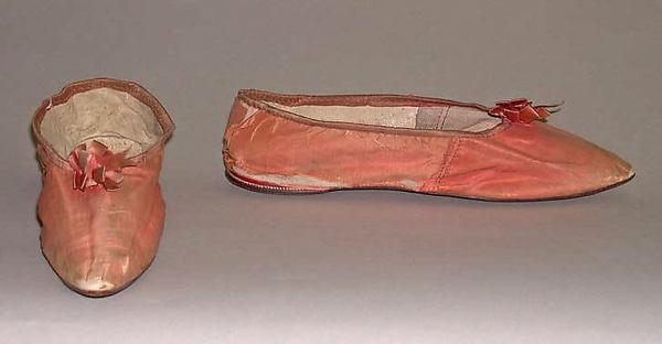 Slippers, silk, leather, British