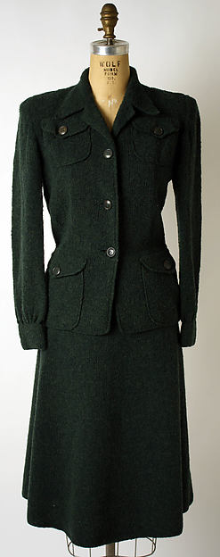 Suit, Attributed to Elsa Schiaparelli (Italian, 1890–1973), wool, probably French
