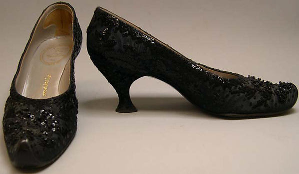 Evening shoes, House of Dior (French, founded 1947), silk, leather, plastic, glass, French