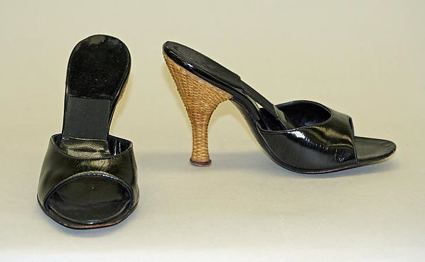 Mules, Herbert Levine Inc. (American, founded 1949), leather, bamboo, American