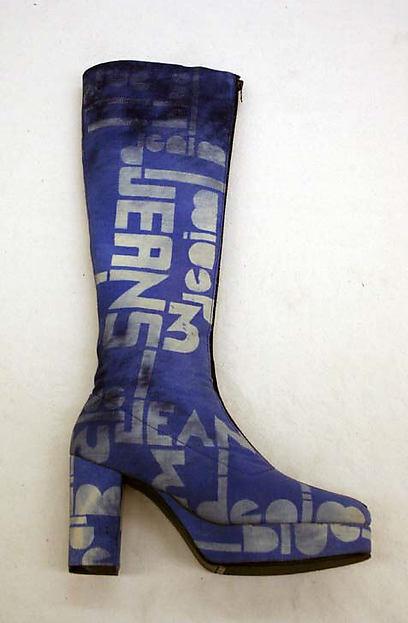 Boots, Leila Larmon, cotton, leather, American