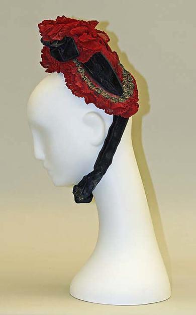Bonnet, silk, glass, French