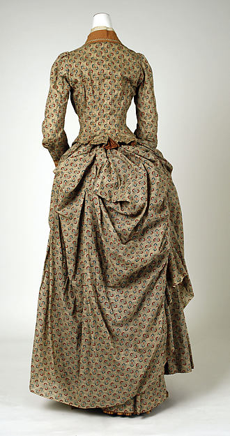 Walking dress, cotton, copper, French