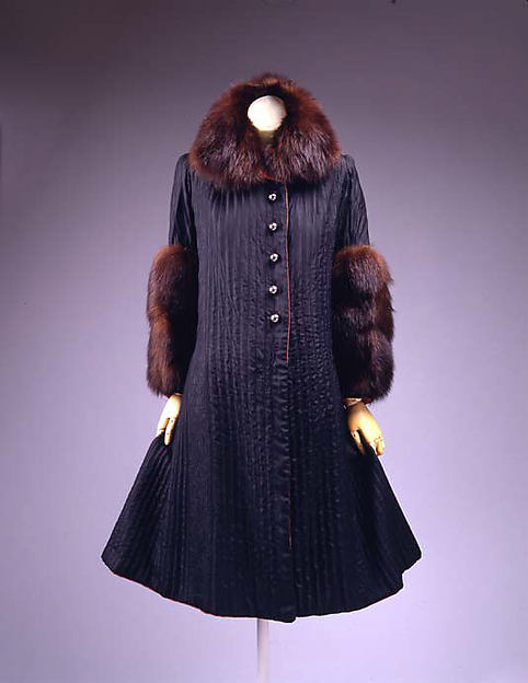 Coat, House of Lanvin (French, founded 1889), silk, wool, fur, metal, French