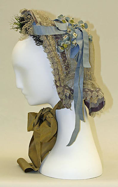 Bonnet, cotton, silk, metal, American