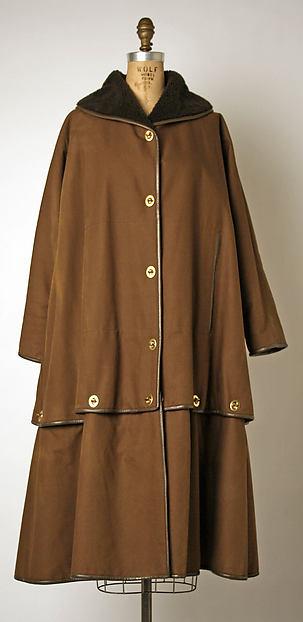 Coat, Bonnie Cashin (American, Oakland, California 1908–2000 New York), cotton, leather, acrylic, metal, American