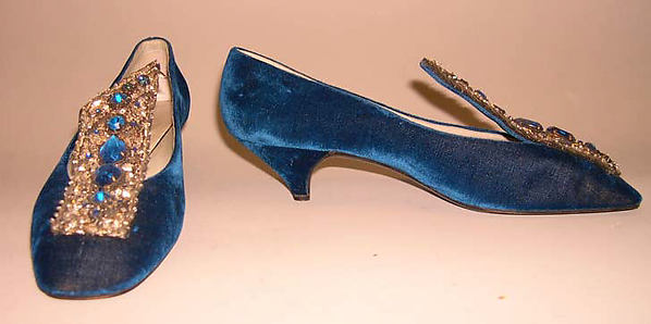 Evening shoes, House of Dior (French, founded 1947), silk, leather, glass, metal, plastic, French