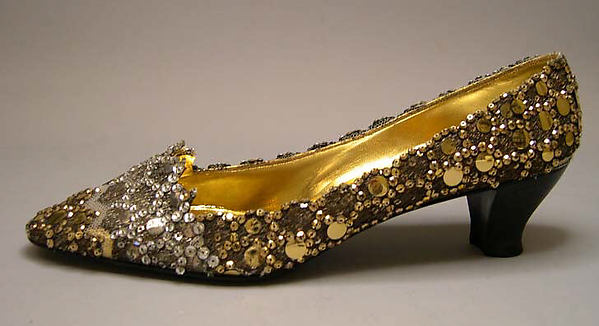 Shoes, House of Dior (French, founded 1947), silk, nylon, metallic thread, plastic, glass, leather, French