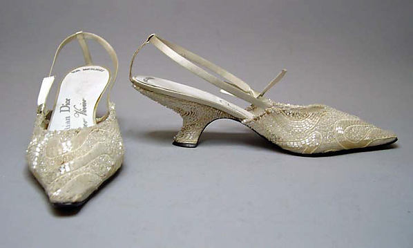 Evening sandals, House of Dior (French, founded 1947), silk, nylon, glass, leather, French
