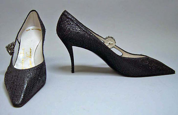 Evening shoes, House of Dior (French, founded 1947), silk, leather, plastic, metal, glass, French