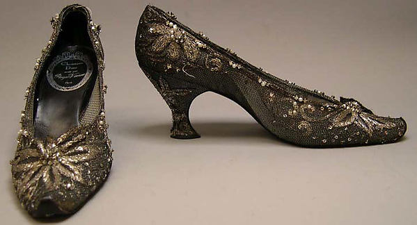 Evening shoes, House of Dior (French, founded 1947), silk, nylon, leather, metallic thread, plastic, glass, French