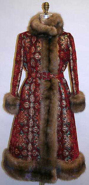 Evening coat, Norman Norell (American, Noblesville, Indiana 1900–1972 New York), cotton, metallic thread, fur, American