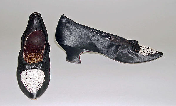 Shoes, Hook, Knowles & Co. (British), silk, leather, cotton, British