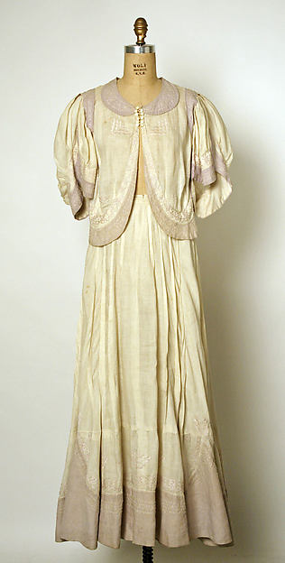 Afternoon suit, House of Drécoll, flax, silk, cotton, French