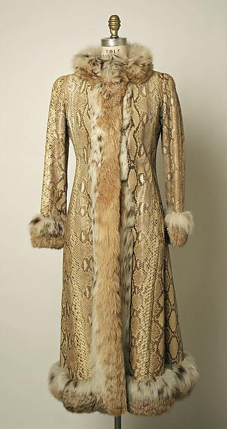 Coat, Arnold Scaasi (American, born Montreal, Canada, 1931–2015), fur, snakeskin, American