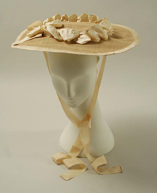 Hat, raffia, silk, British